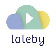 Logo laleby dreifarbige Wolke Pastelltöne mit Playzeichen