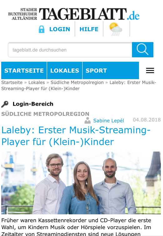 Screenshot Artikel über laleby im Tageblatt Stade mit Teamfoto